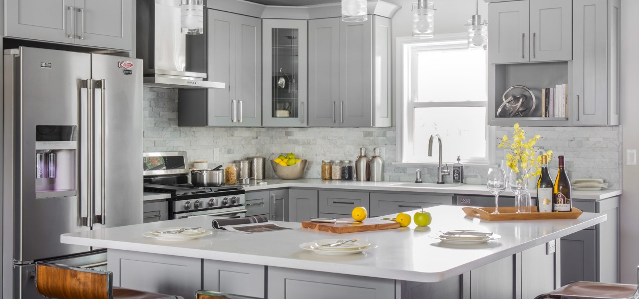 Grey Quartz kitchen counter top